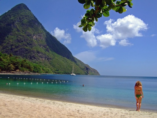 Swim at Sugar Beach, St. Lucia