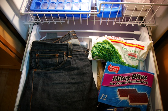 jeans in the freezer
