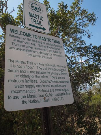 Mastic Trail Grand Cayman sign