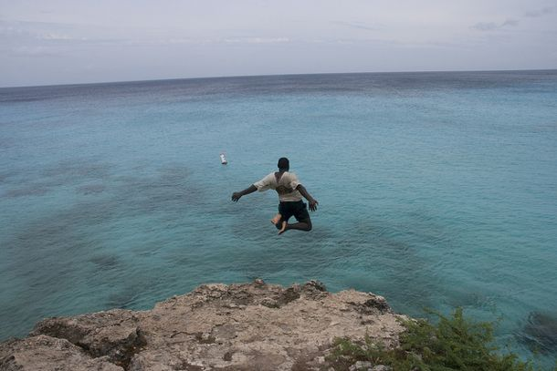 Leaping out to sea at Playa Abou, Curacao