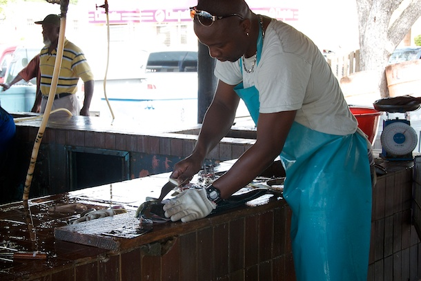 Fish Cleaner, Oistins Fish Market By Day, Barbados by Patrick Bennett