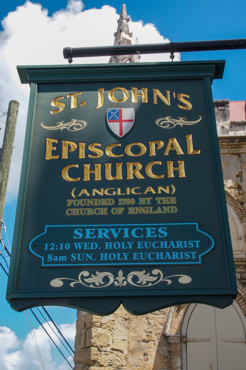 Service hours at St. John's Anglican Church, St. Croix