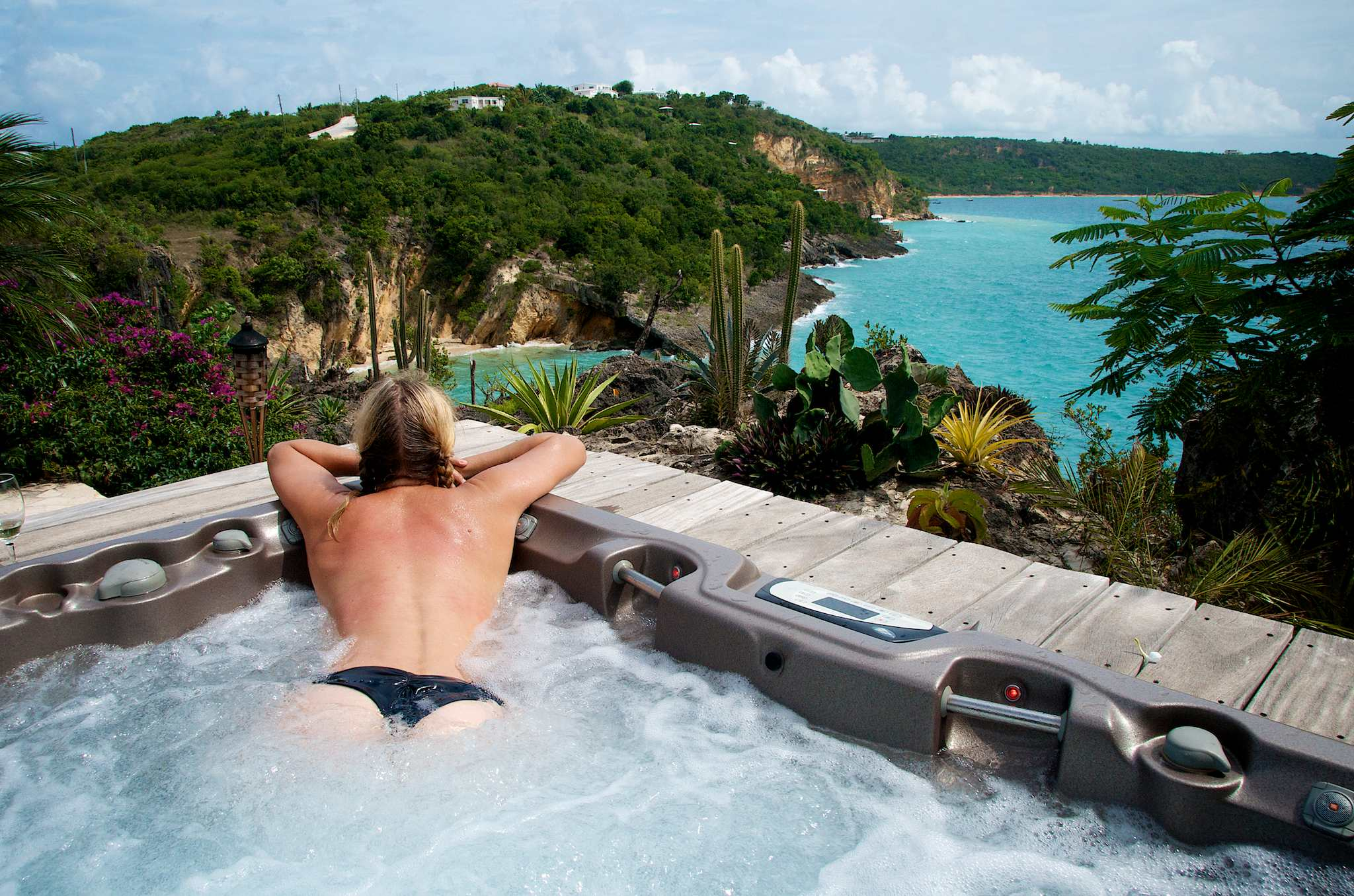 Hot tubbing at Ani Villas, Anguilla by Patrick Bennett