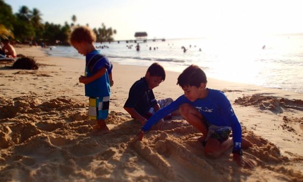 Young Bennett Boys at Pigeon Point, Tobago | Credit: Kelly Bennett