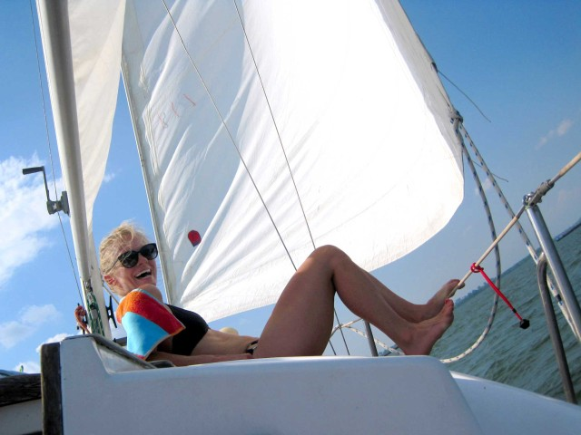 Kelley enjoying a beautiful day sailing