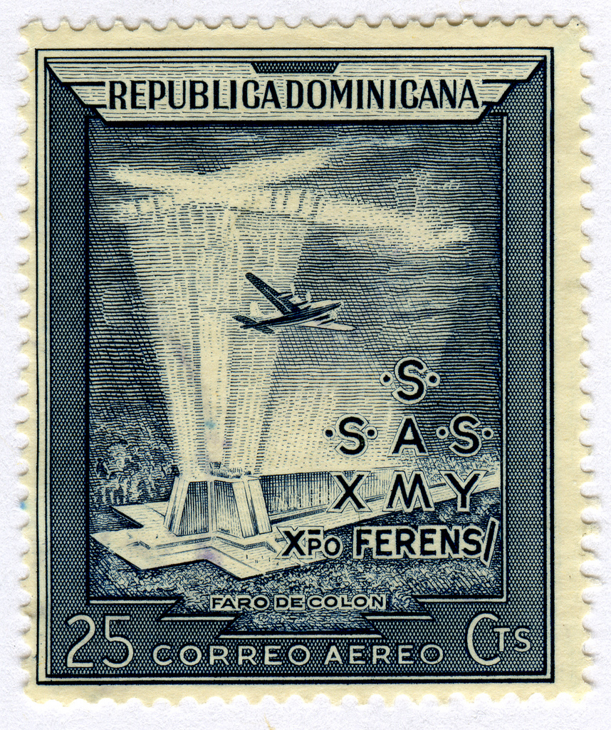 airmail stamp depicting the Faro a Colon, the Columbus Lighthouse by Joseph Morris via Flickr