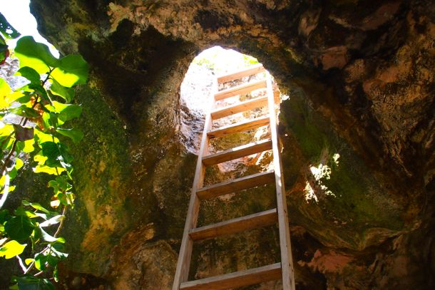 Looking up the ladder from inside Pirate's Cove, Provo | SBPR