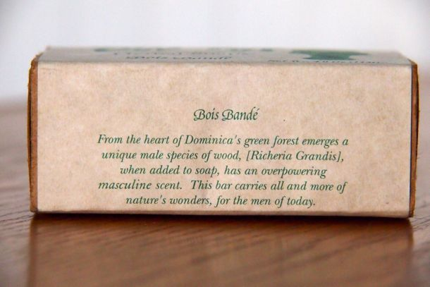 Bois Bande Soap implies its benefits right on the label