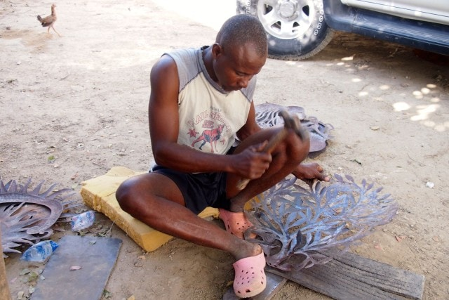 Noailles Artisan pounding away at a piece that will net close to $1,000 | SBPR