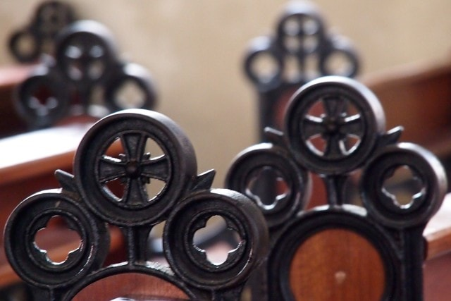 Ironwork atop the pew end caps within the St. Louis Cathedral, Martinique | SBPR