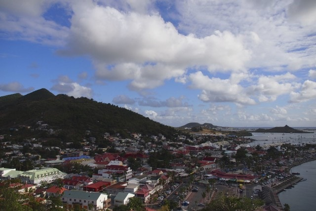 Marigot, capital of French St. Martin, as seen from atop Fort Louis | SBPR