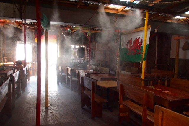 Inside seating at Ruins Rock Cafe, complete with misting system | SBPR