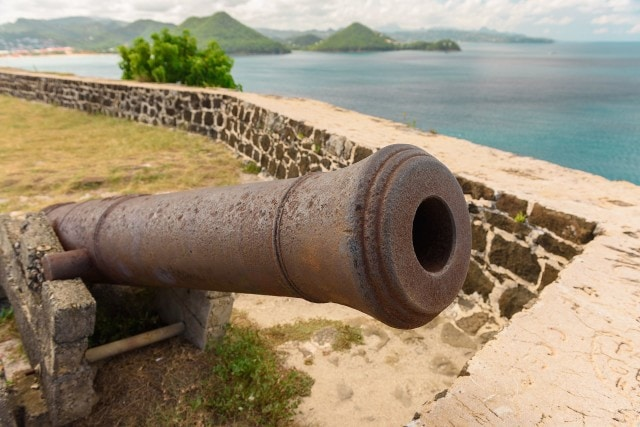 Colonial-era cannons atop Fort Rodney on Pigeon Island, St. Lucia |Credit: Fickr user Hiral Gosalia