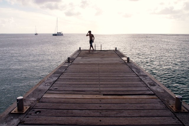 On the jetty in time to enjoy the sunset at Anse-d'Arlet | SBPR