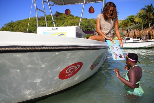 Another soon to be satisfied customer of the Ice Cream Boat off Pinel Island, St. Martin | SBPR