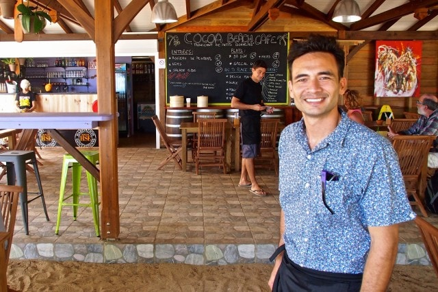 Jeremie Bodin, proud owner of the new Cocoa Beach Cafe, Martinique | SBPR