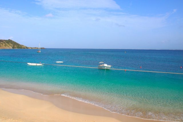 Clear view of the beach from my room at Le Temps des Cerises, St. Martin   SBPR