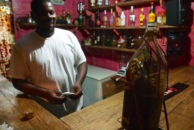 """Elvis invites me to """"Wake Up Jacob"""" at Monty's Fish Grill and Bar, Dominica 