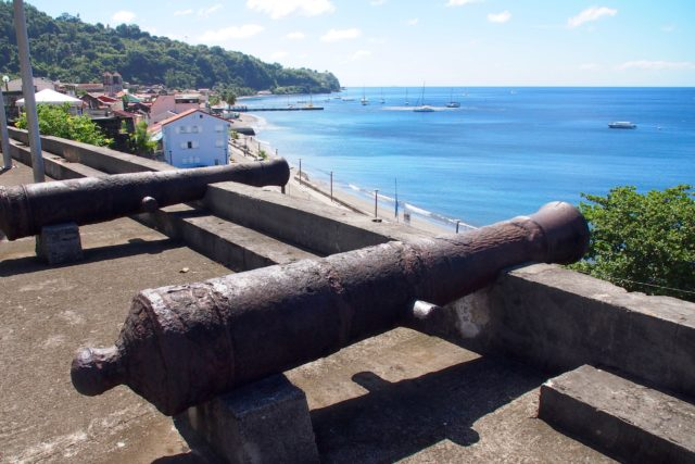 Ancient cannons atop the old city walls of Saint-Pierre, Martinique | SBPR