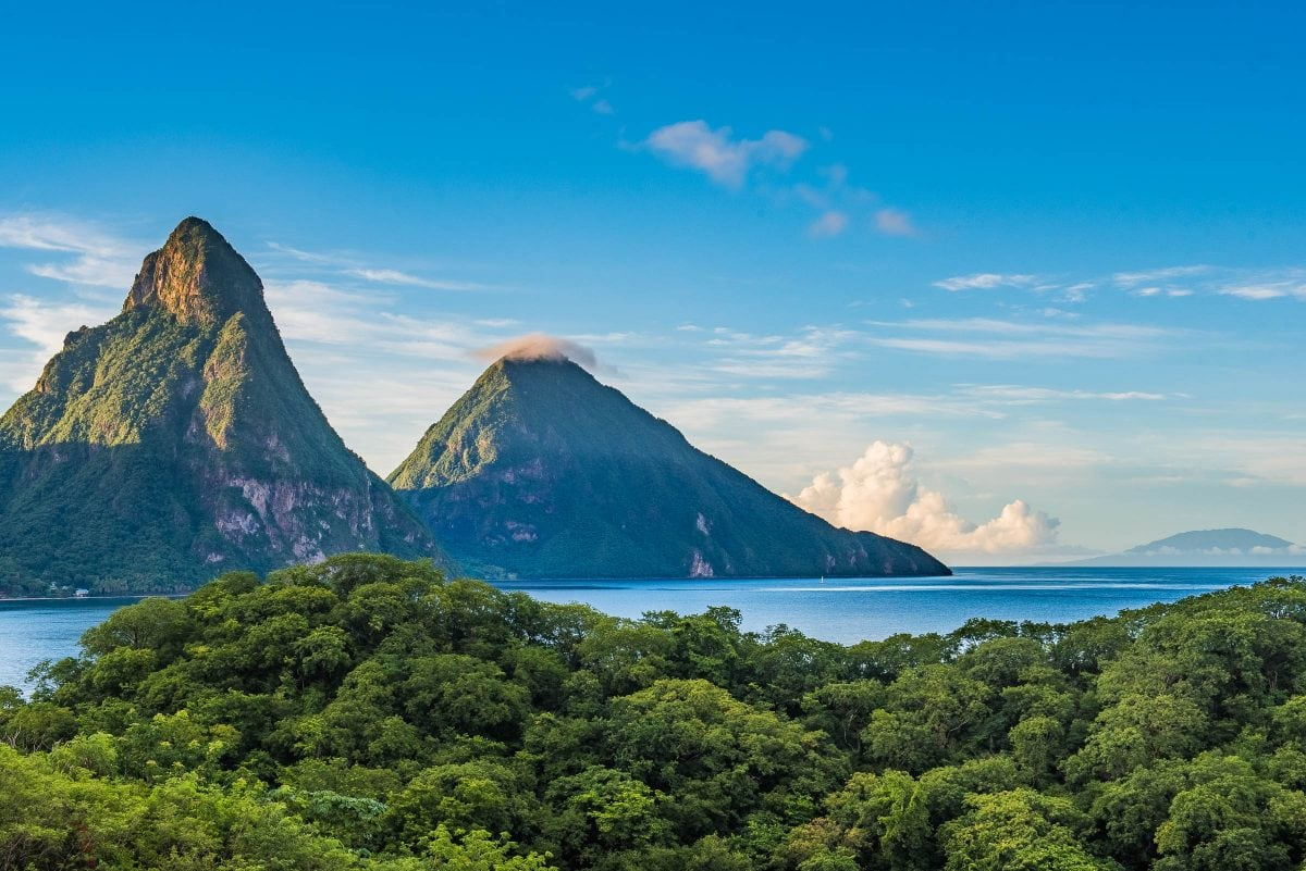 The view of the Pitons