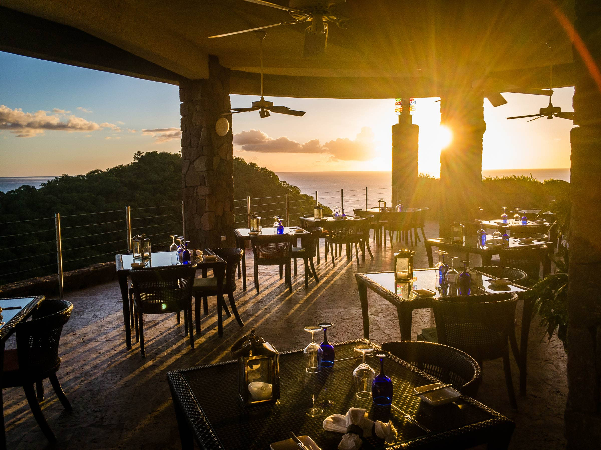 Sunsets stream through the dining area.