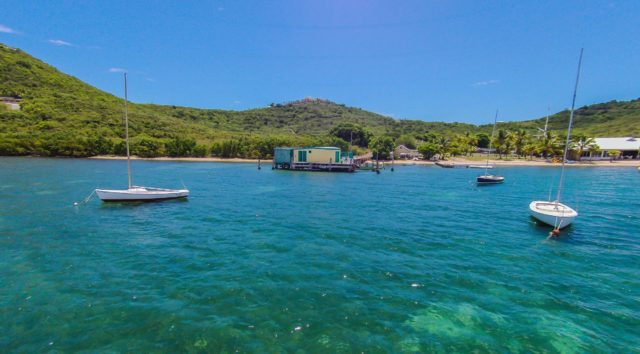 All beaches are public in the U.S. Virgin Islands, but the castle comes with this jetty and beach area right next to the St. Croix Yacht Club
