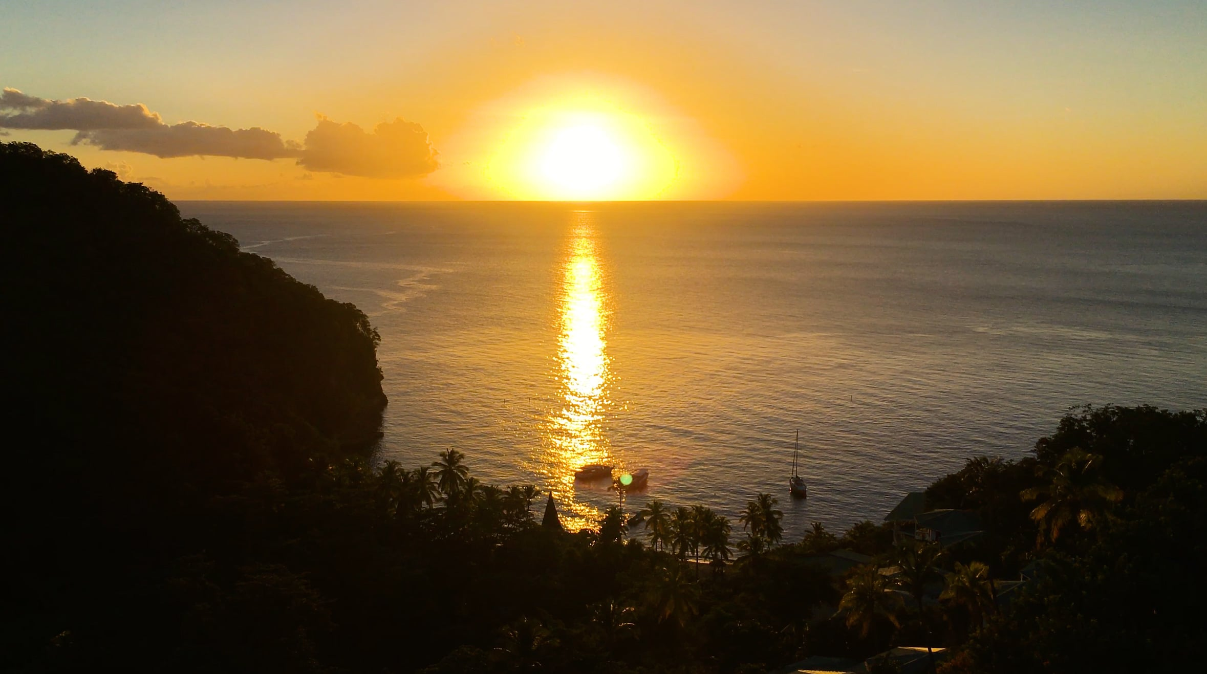sunset over Anse Chastnet Beach, St Lucia by Patrick Bennett