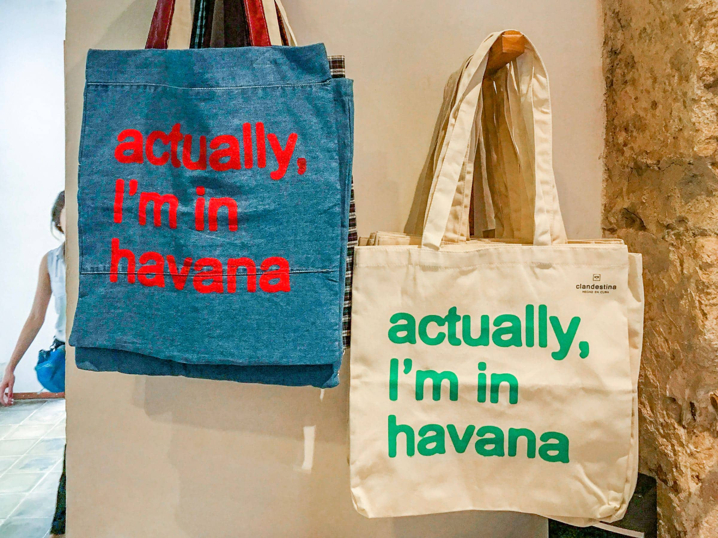 Bags for sale at Clandestina, Cuba by Patrick Bennett