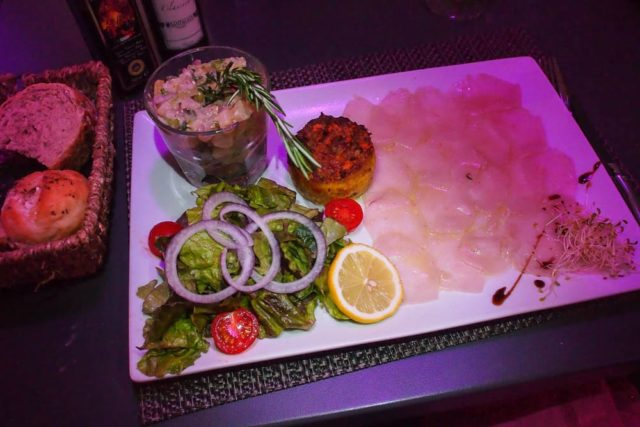 Wahoo Tartar and Carpaccio + Crab Cake and Salad appetizer at Le Piment, St. Martin