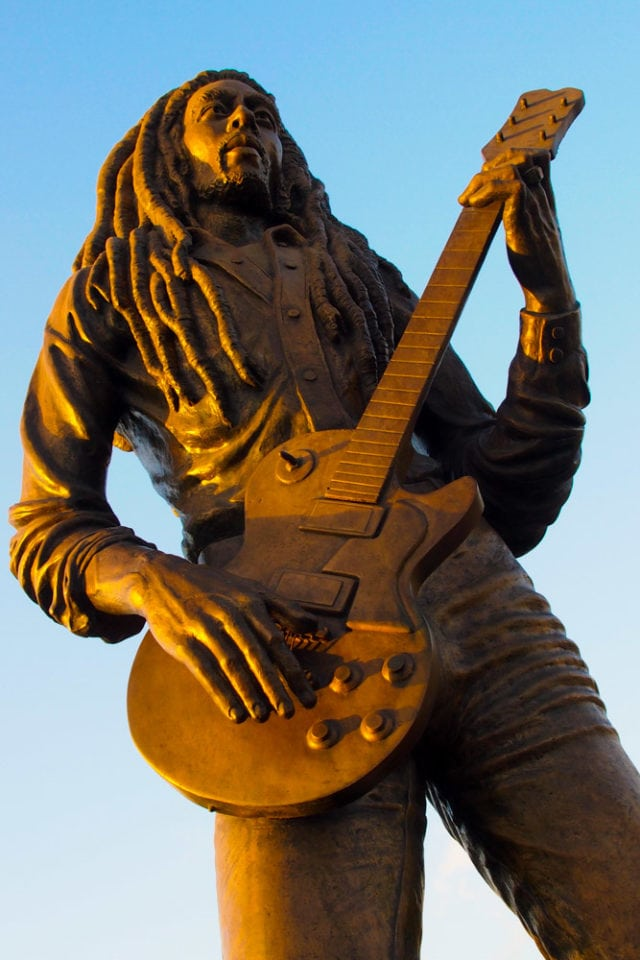 Bob Marley in bronze at the entrance to the Jamaica National Stadium in Kingston