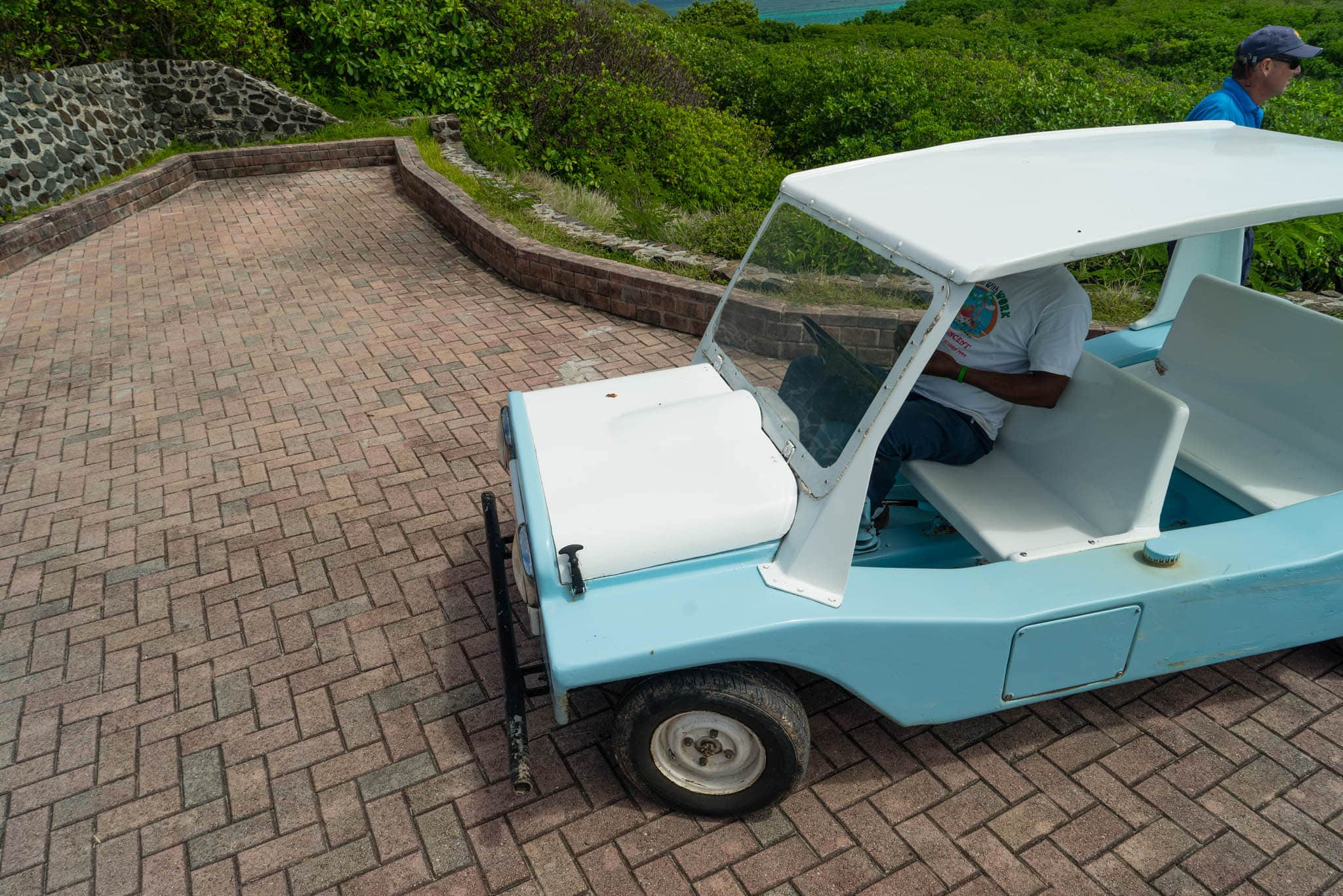 How do you get around your private island? By vintage Mini Moke, of course!
