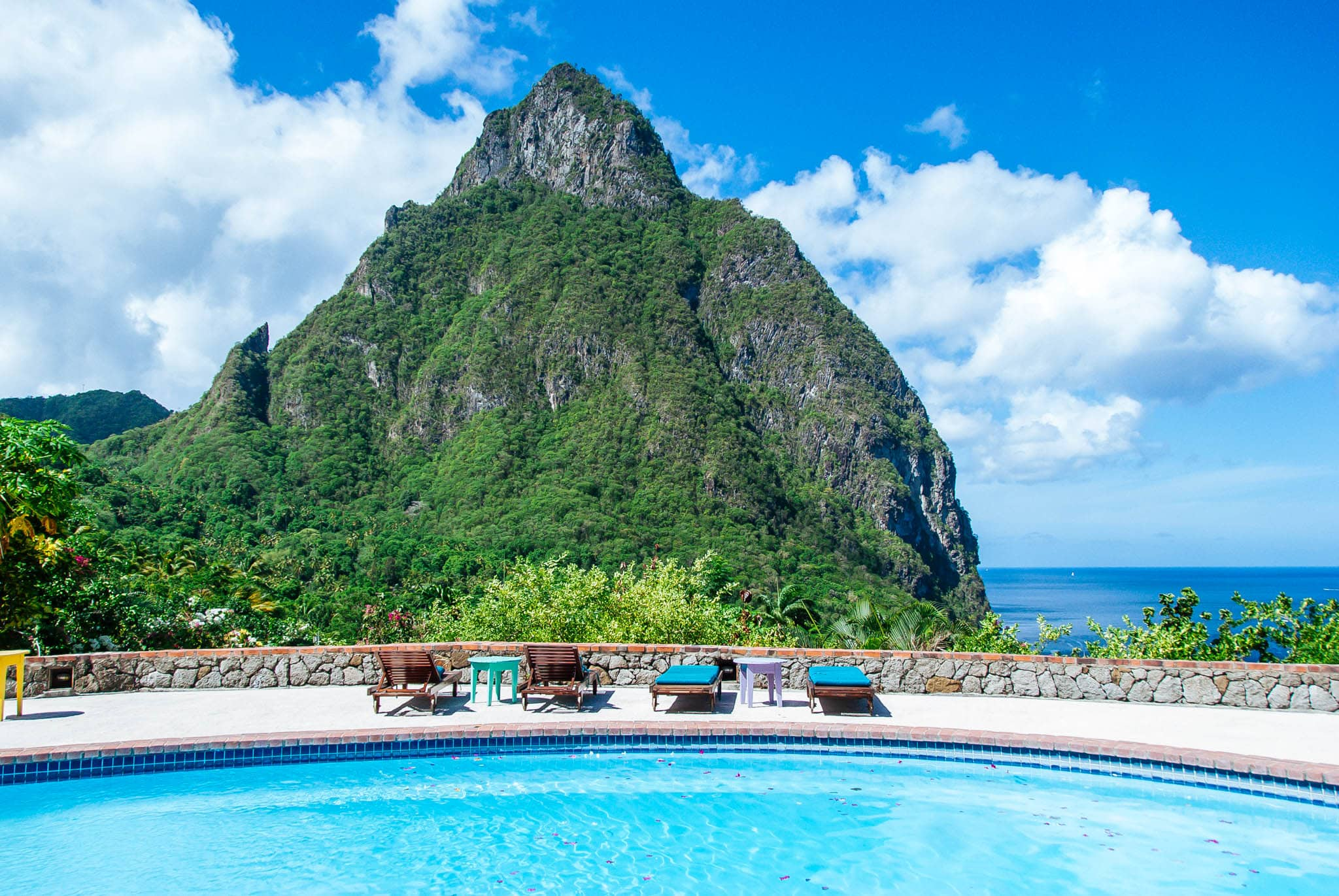 The main pool grants guests the opportunity to bask in the beauty of nearby Petit Piton.