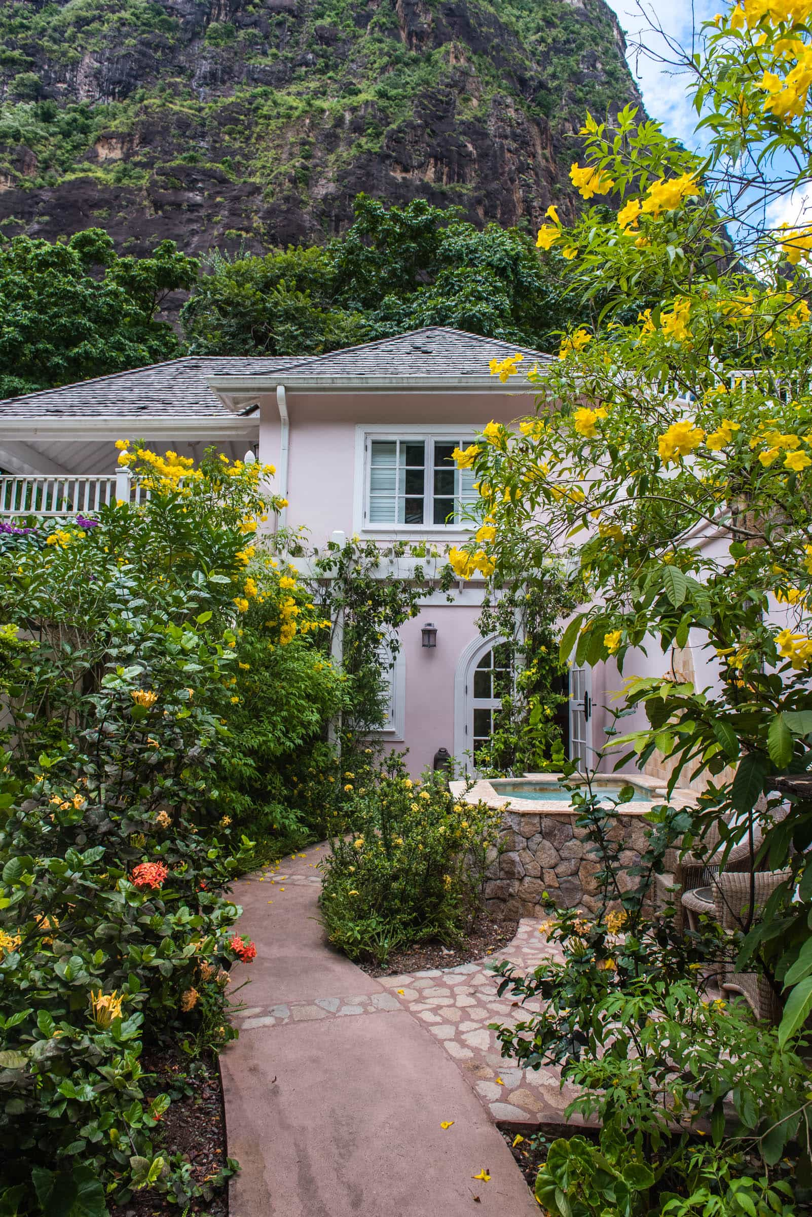How about a cottage nestled at the foot of Petit Piton?
