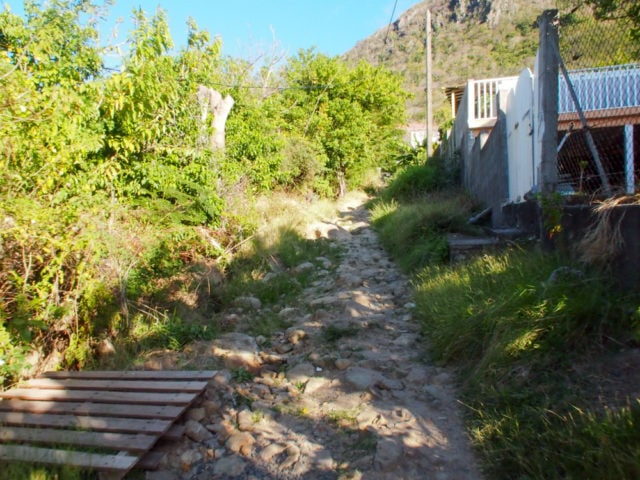 Path between the houses to Pain de Sucre, Guadeloupe