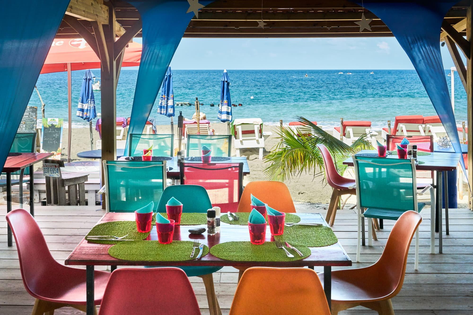 Seaside dining at Le Petibonum, Martinique