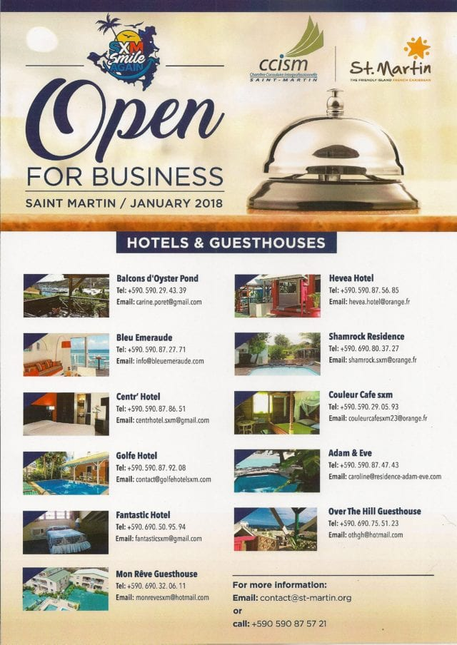 Hotels & Guesthouses open for business in French St. Martin as of January 2018