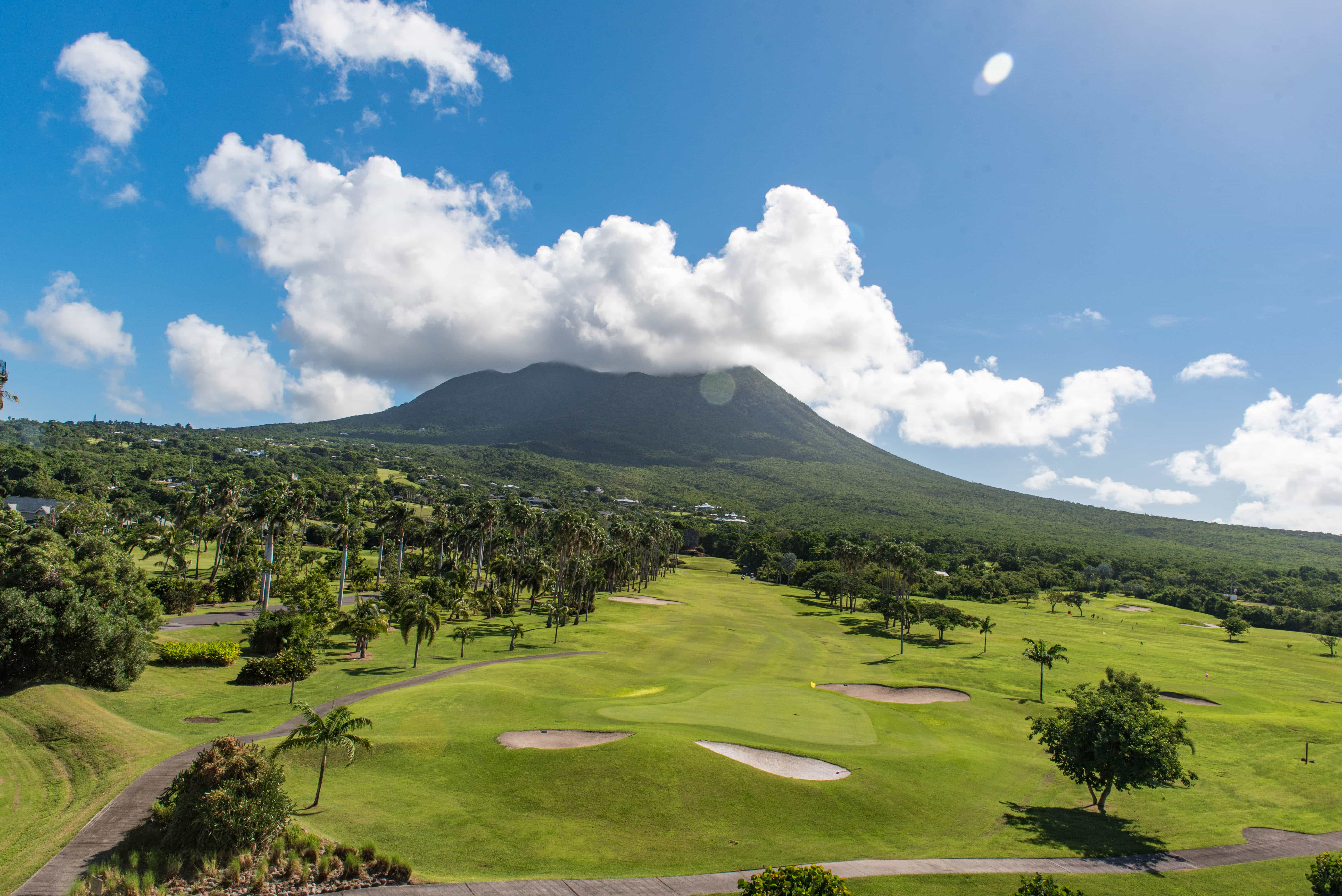 If golf is your thing, how about playing in the shadow of this volcano?