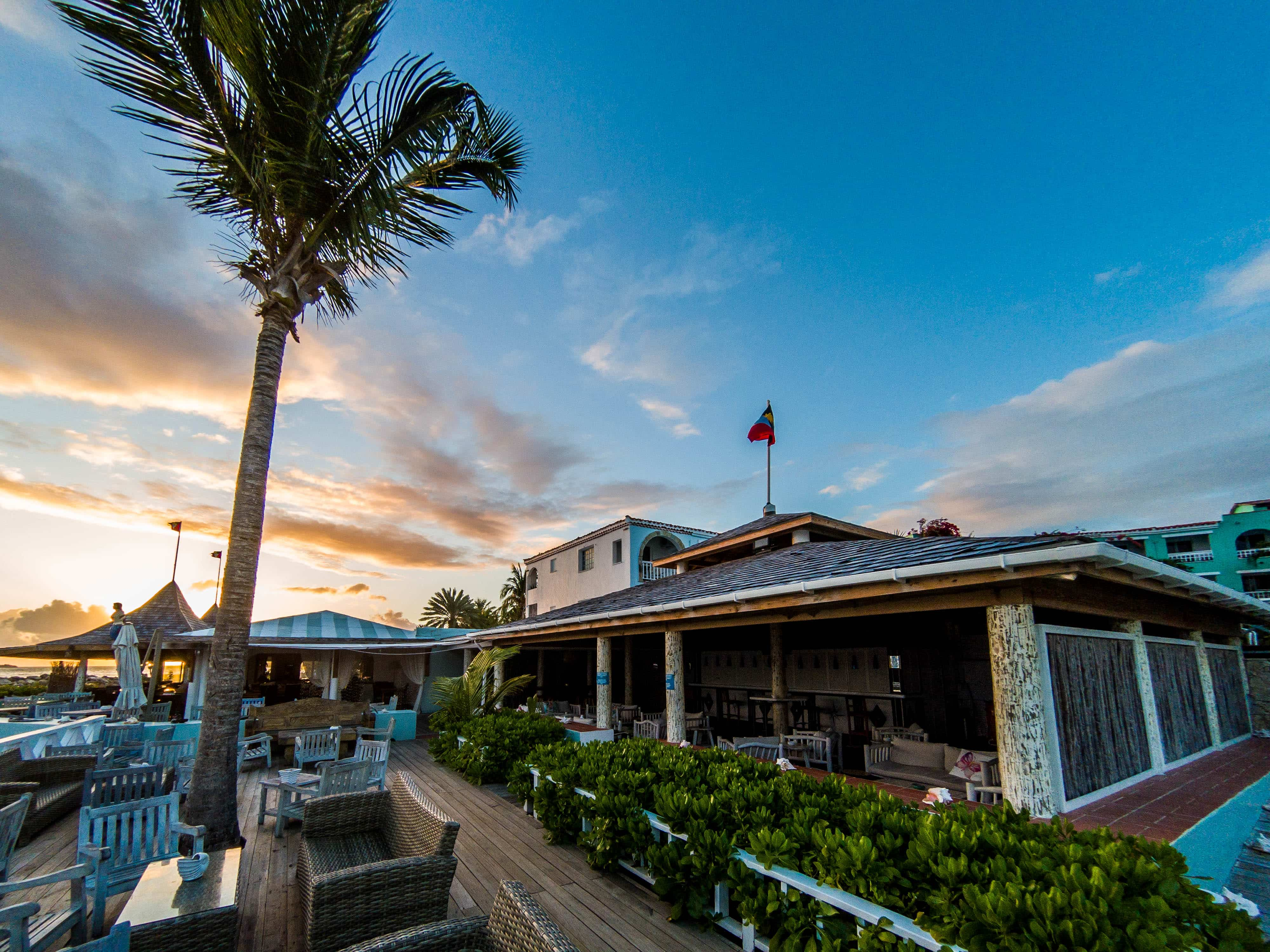 Dining is right down by the beach.