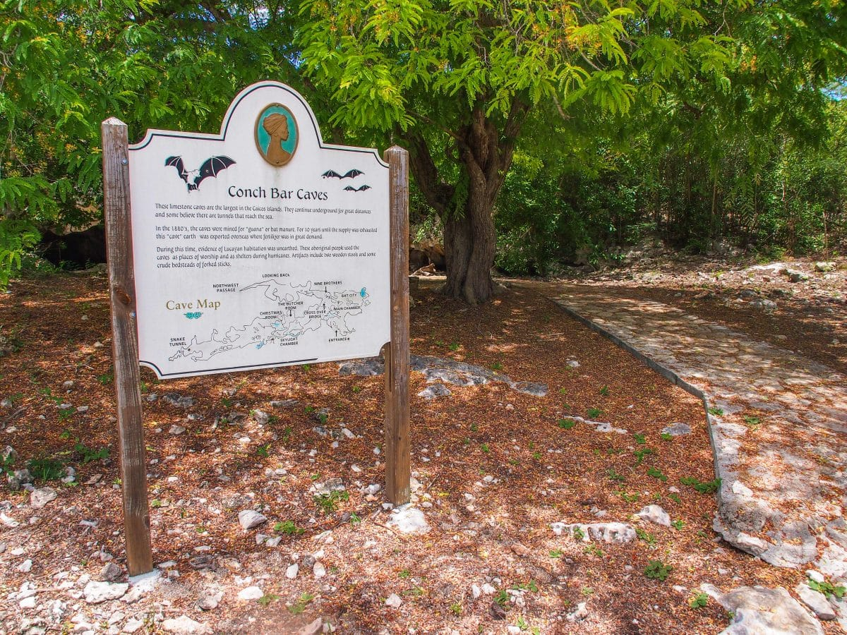 Conch Bar Caves Welcome Sign, Middle Caicos, TCI | SBPR