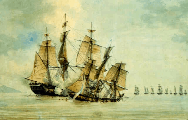 Battle between the French corvette Décius and the frigate HMS Lapwing