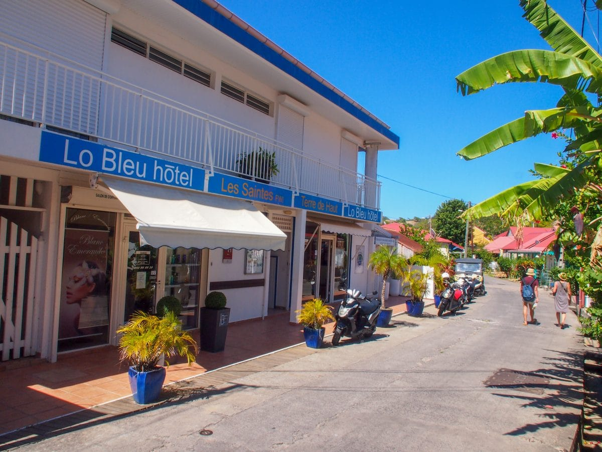 Hotel LoBleu from the street in Terre-de-Haut, Guadeloupe | SBPR