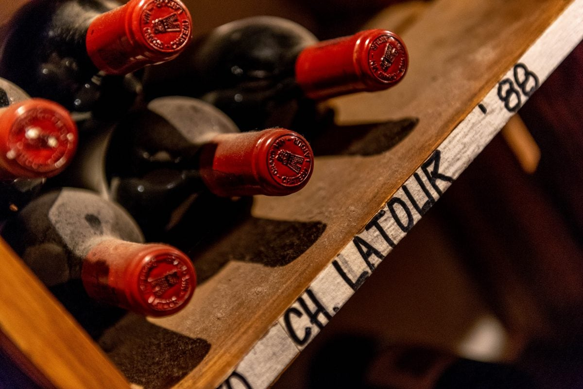 '88 Chateau Latour bottles in the wine cellar at Curtain Bluff, Antigua