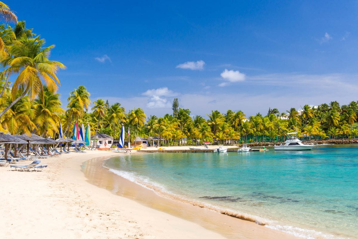 One of Curtain Bluff's two beaches