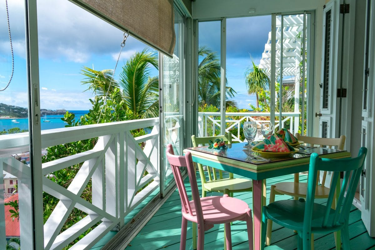 My breakfast seating at Bellavista Bed & Breakfast, St. Thomas | SBPR