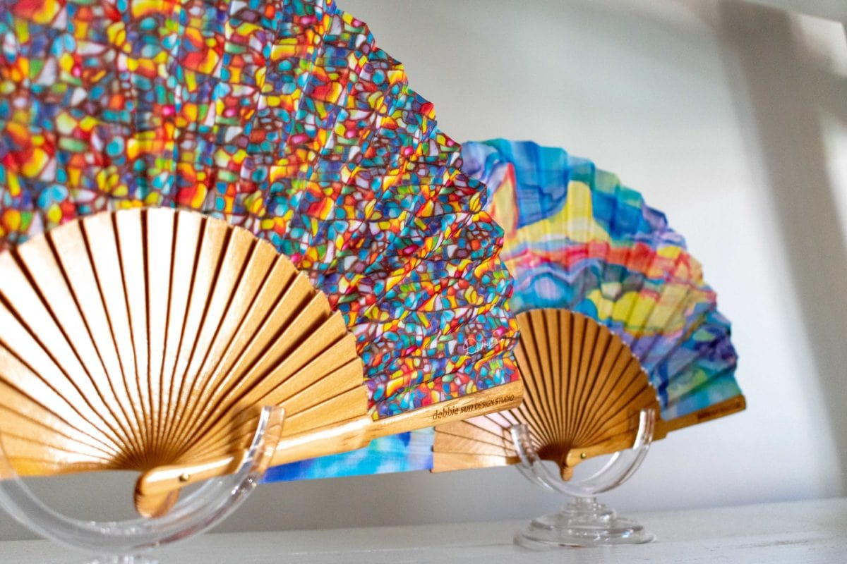 Debbie Sun Design Studio hand fans on display at ADORN, St. Croix | SBPR
