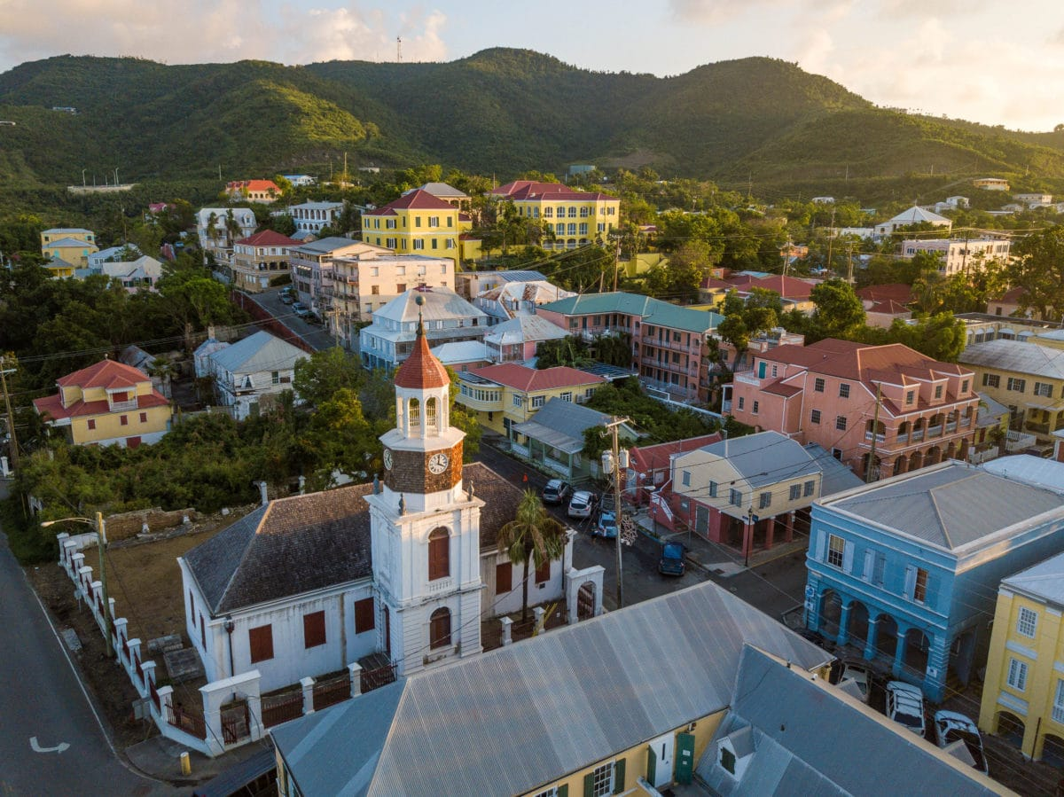 Company House (pink) sits in the heart of Historic Christiansted, St. Croix | Credit: Patrick Bennett