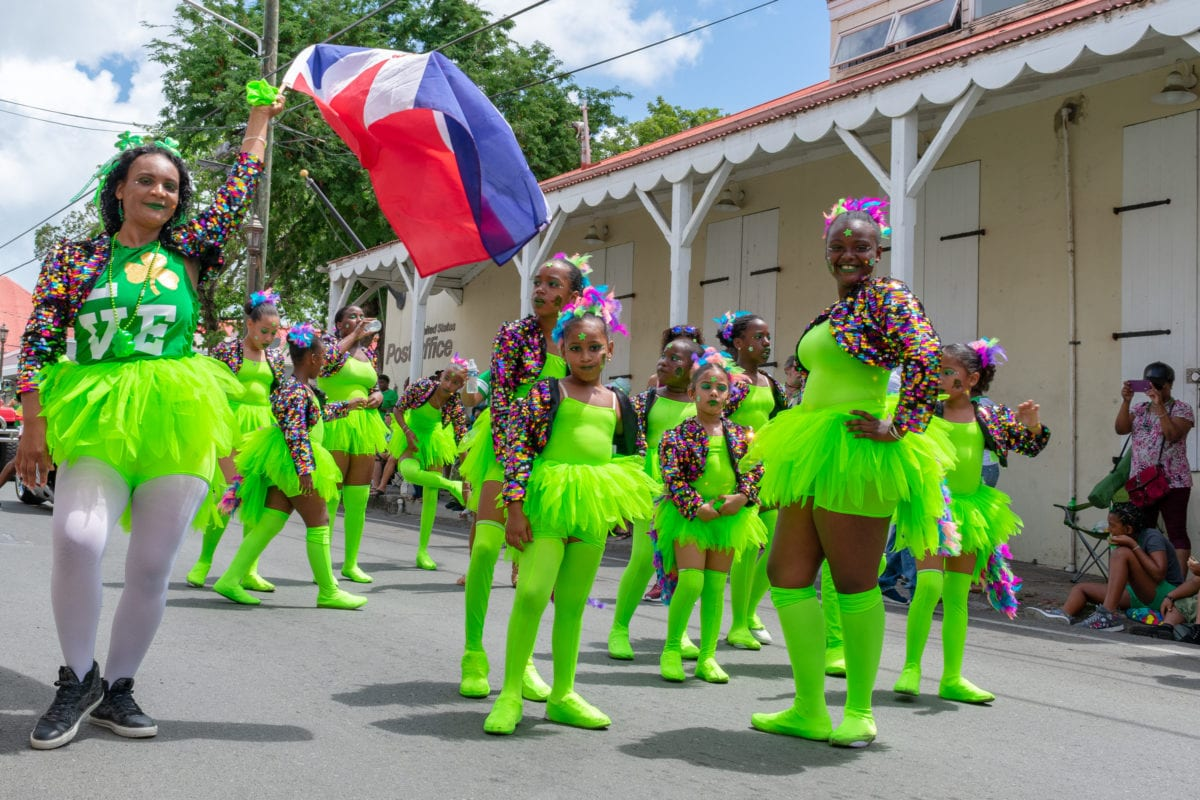 Cute dance troop repping the DomRep at St. Croix St. Patrick's Day Parade | SBPR