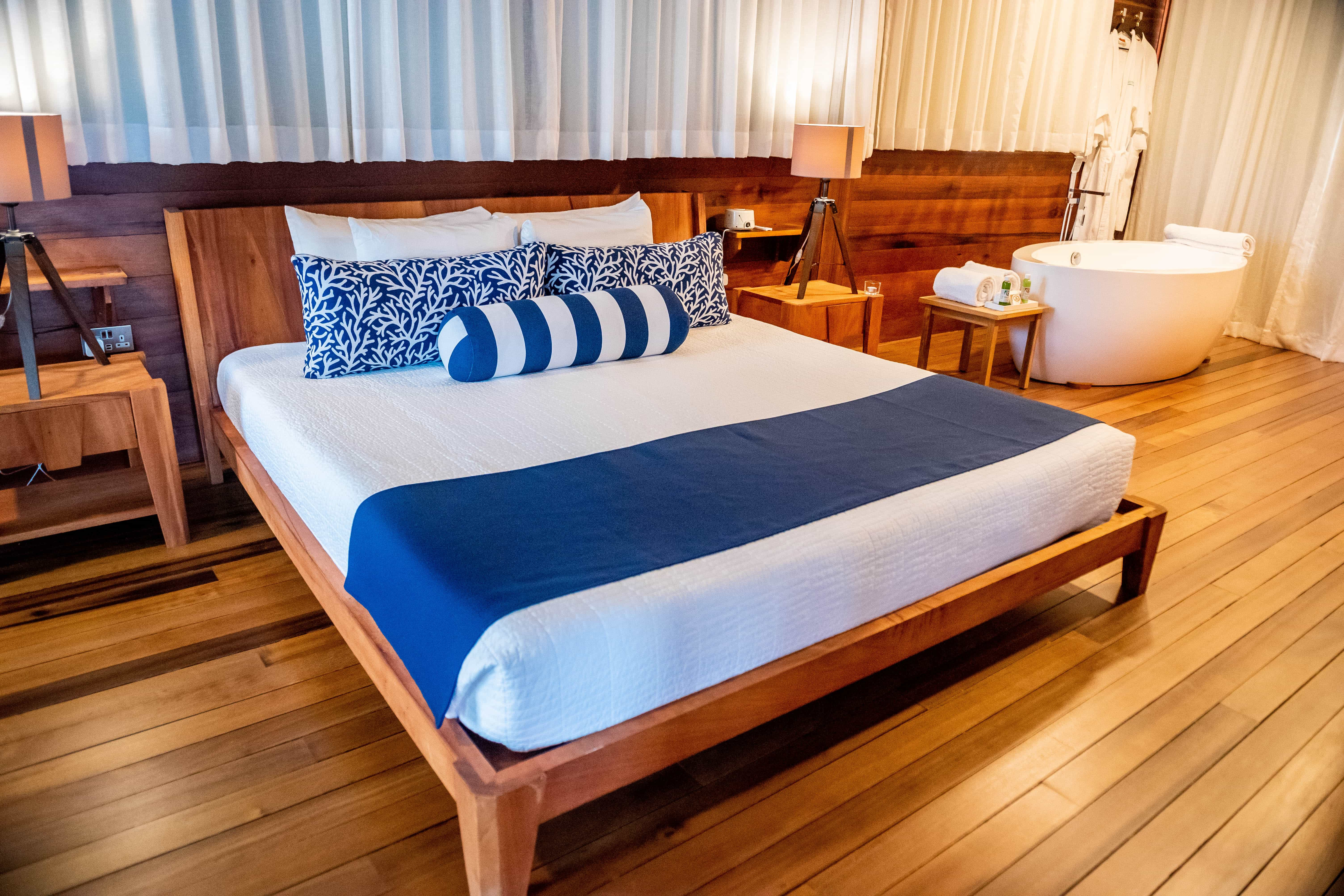 The rooms are well appointed with soothing beds and sensual soaking tubs.