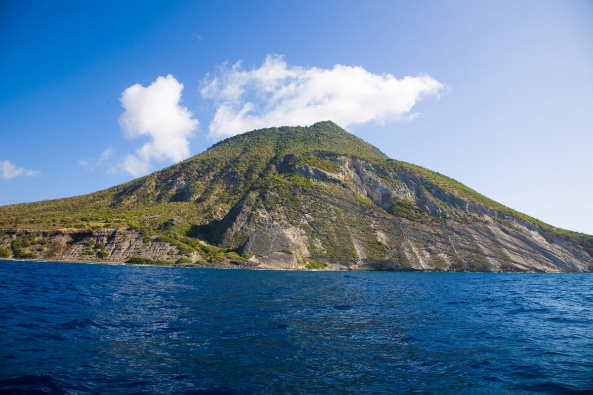 Statia from the sea | Credit: Flickr user Andries3