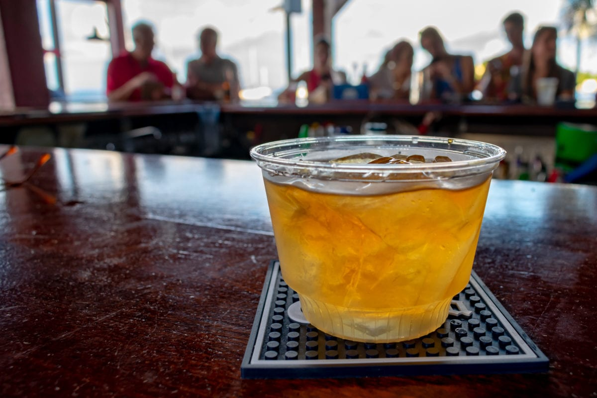 My pricey rocks pour of Cruzan Single Barrel at Shupe's On The Boardwalk, St. Croix | SBPR